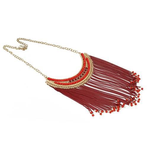 Craftsvilla Designer Partywear Handmade Red Thread Fashion Necklace