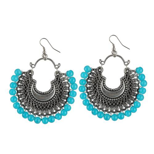 Craftsvilla German Silver Blue Beads Oxidized Afgani Earrings