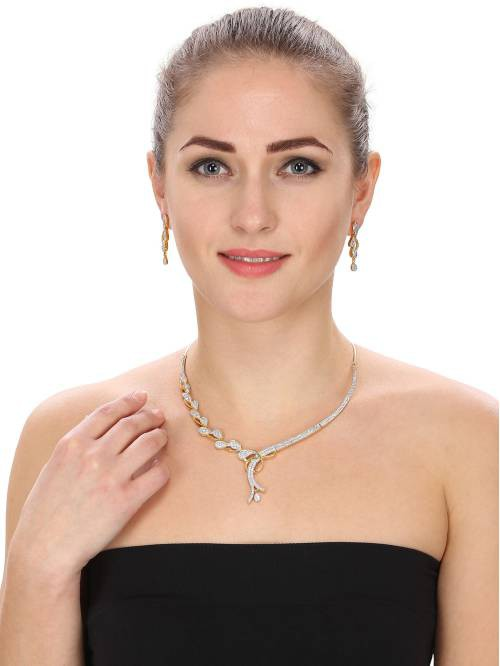 Craftsvilla  Diamond Gold Plated Necklace Set With Earrings