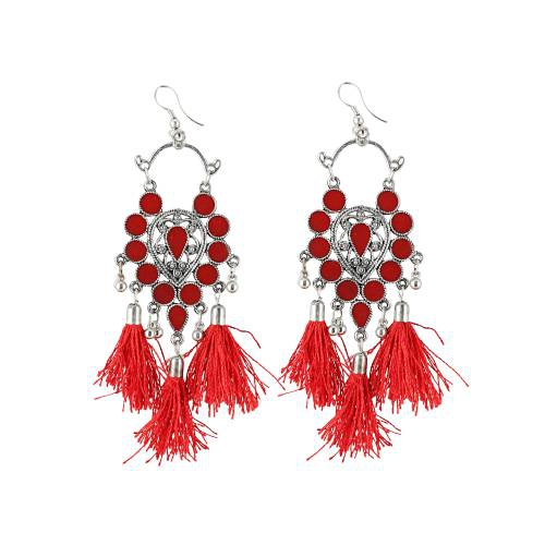 Craftsvilla German Silver Oxidized Afgani Earrings Red Tassels