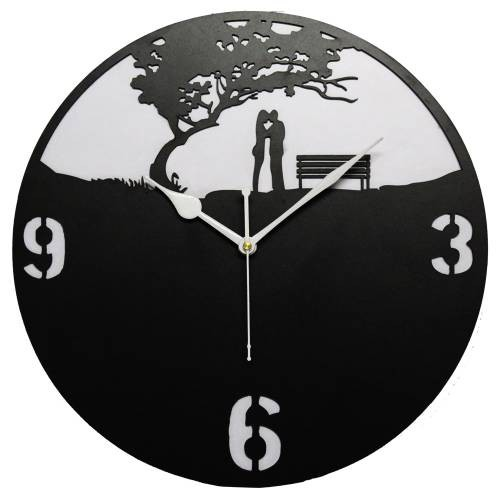 Edeal Wall Clock Couple Black And White Wooden Wall Clock