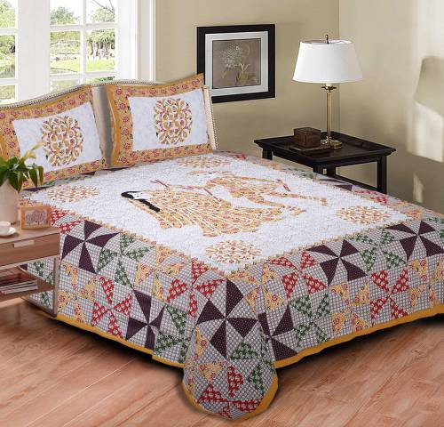 My Snoopy Jaipuri Ethnic Yellow Garba Design Cotton Double Bedsheet With 2 Pillow Covers (reed & Pick - 52x52)