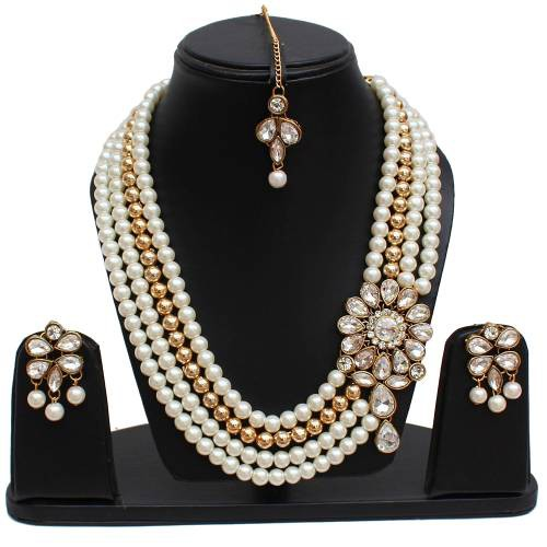Lucky Jewellery Designer White Color Three Layered Pearl Necklace Set