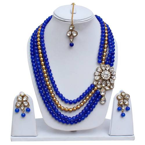 Lucky Jewellery Designer Blue Color Three Layered Pearl Necklace Set