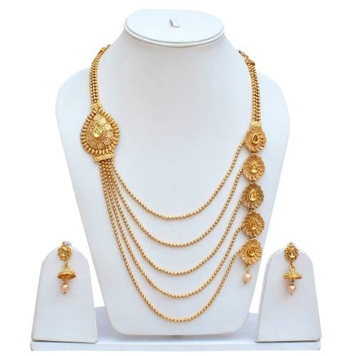 Lucky Jewellery Designer Golden Color Copper Necklace With Earring