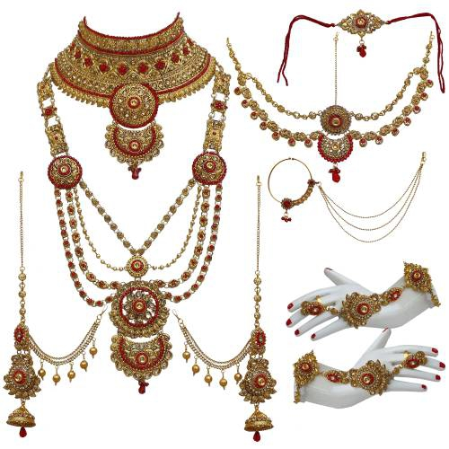 Lucky Jewellery Bridal Golden Red Color Alloy Gold Plated Wedding Jewellery Set For Girls & Women