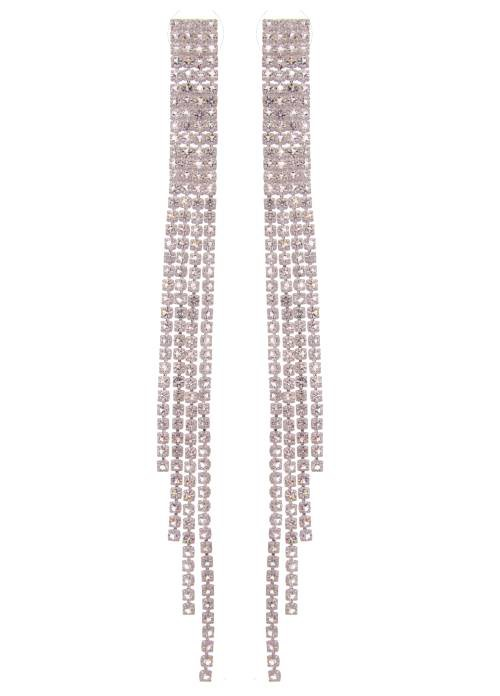 Lucky Jewellery Latest Festive Party Wear Collection Silver Polish Cz Stone Long Dangle Chain Earring