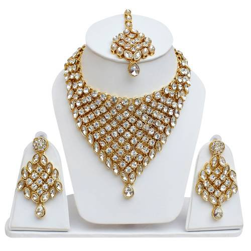 Lucky Jewellery Designer White Color Stone Gold Plating Partywear Necklace Set