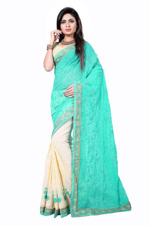 Samarth Fab Sky Blue Georgette Embroidered Saree With Blouse Piece