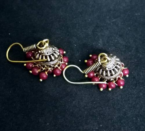 Antique Finish Oxidized German Gold Plated Light Weight Daily Wear Jhumka Jhumki Gold Tone Pearl Earrings In Rajasthani / Jaipur Vintage Style