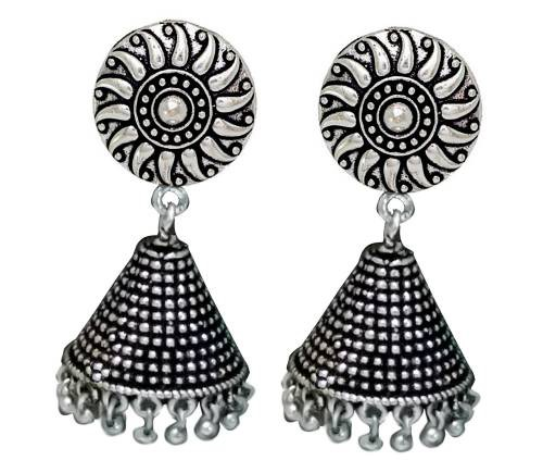 Antique Finish Oxidized Silver Trendy Stylish Fancy Party Wear Jhumka/jhumki Jewellery Earrings For Girls & Women