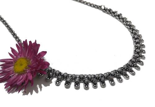 Antique Finish Oxidized German Silver Plated Light Weight Party Wear Necklace In Rajasthani / Jaipur Vintage Style