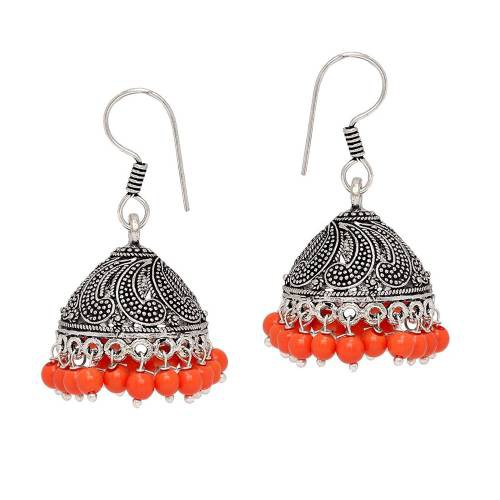 Handmade Orange Brass Oxidised Silver Pearl Fashion Jhumki Earring