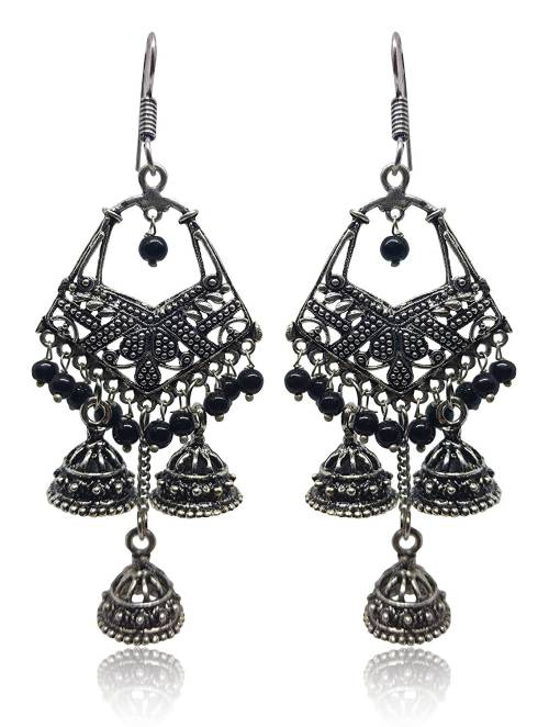 Antique Finish Oxidized German Silver Plated Bahubali  Party Wear Jhumka Jhumki Silver Tone Pearl Earrings In Rajasthani / Jaipur Vintage Style