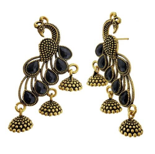 Antique Finish Oxidized German Silver Gold Plated Light Weight Daily Wear Jhumka Jhumki Silver Tone Pearl Earrings In Rajasthani / Jaipur Vintage Style