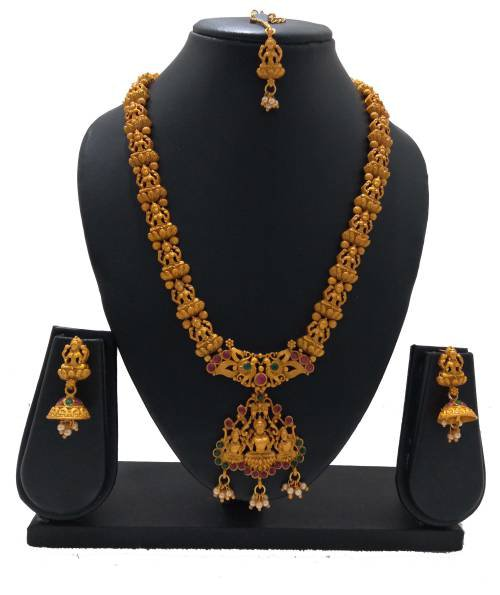South Indian Style Gold Plated Long Traditional Temple Necklace Jewellery Set For Women