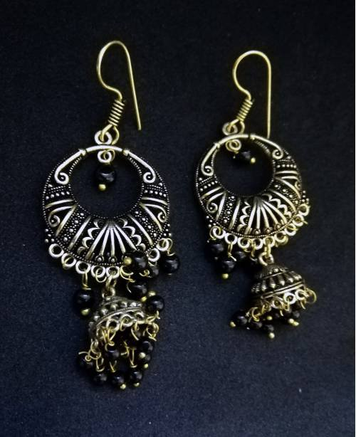 Antique Finish Oxidized Gold Plated Light Weight Daily Wear Jhumka Jhumki Silver Tone Pearl Earrings In Rajasthani / Jaipur Vintage Style