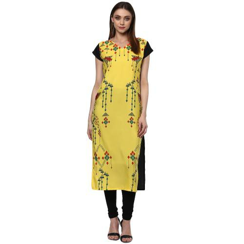 Yellow Crepe Printed Calf Length Straight Kurti