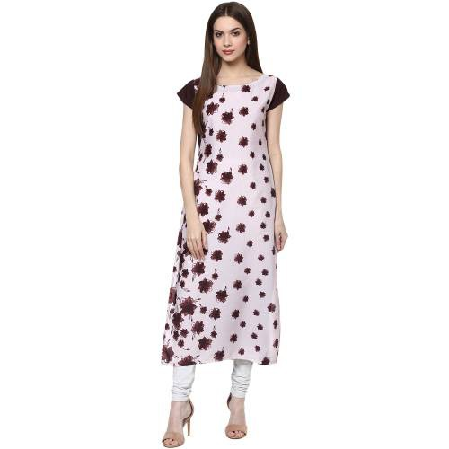 Maroon Crepe Printed Calf Length Straight Kurti