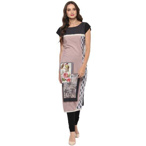 Multicolorcrepe Digital Printed Straight Boat Neck Kurti