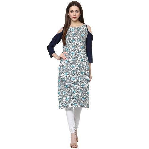 Multicolor Crepe Printed Calf Length Straight Kurti