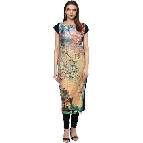Beige Crepe Printed Calf Length Straight Kurti