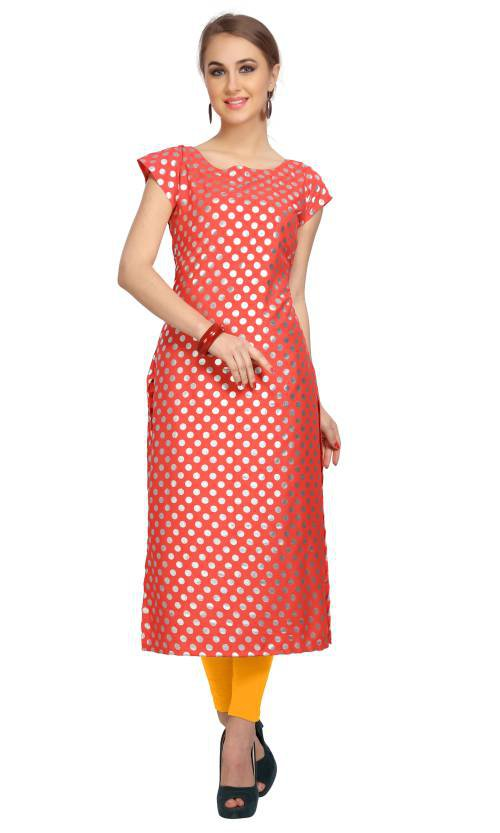 Peach Crepe Printed Calf Length Straight Kurti