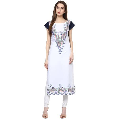 White Crepe Printed Calf Length Straight Kurti