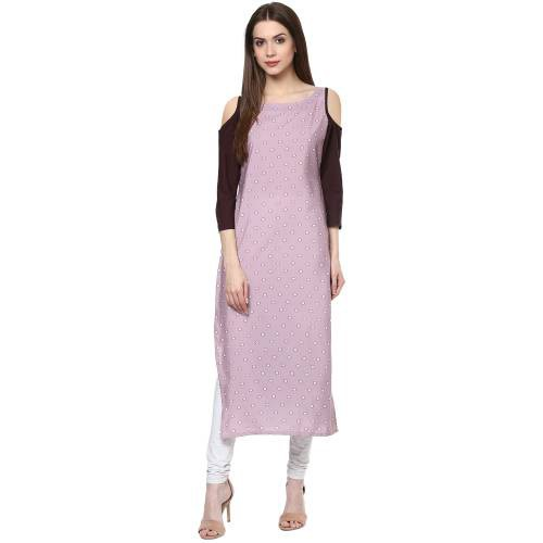 Pink Crepe Printed Calf Length Straight Kurti