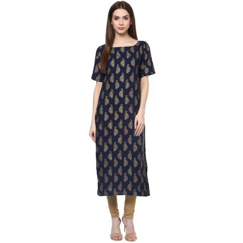Blue Crepe Printed Calf Length Straight Kurti