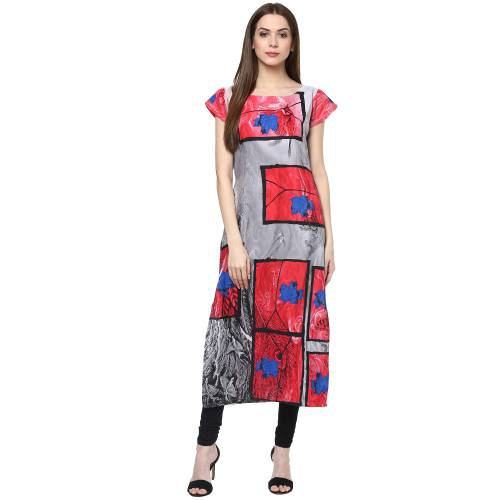 Multicolorcrepe Printed Calf Length Straight Kurti