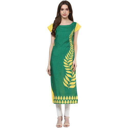 Green Crepe Printed Calf Length Straight Kurti