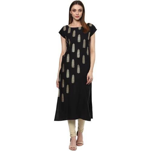 Black Crepe Printed Calf Length Straight Kurti