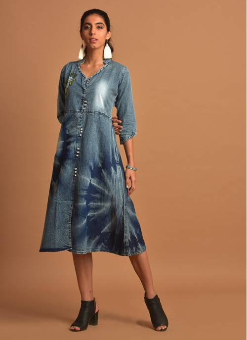 Acid-washed Denim Kurti Dress With 3/4th Sleeves