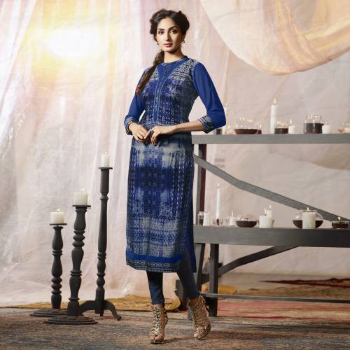 Blue Crepe Embroidered Straight Kurti