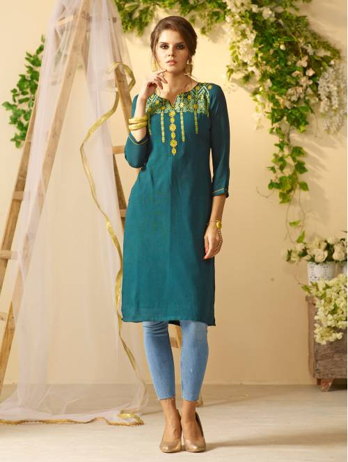 Green Rayon Embroidered Knee Length Straight Kurti