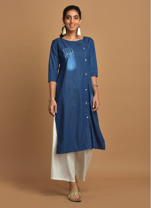 Dark Blue Side-buttoned Denim Kurti With Square Patch & 3/4th Sleeves