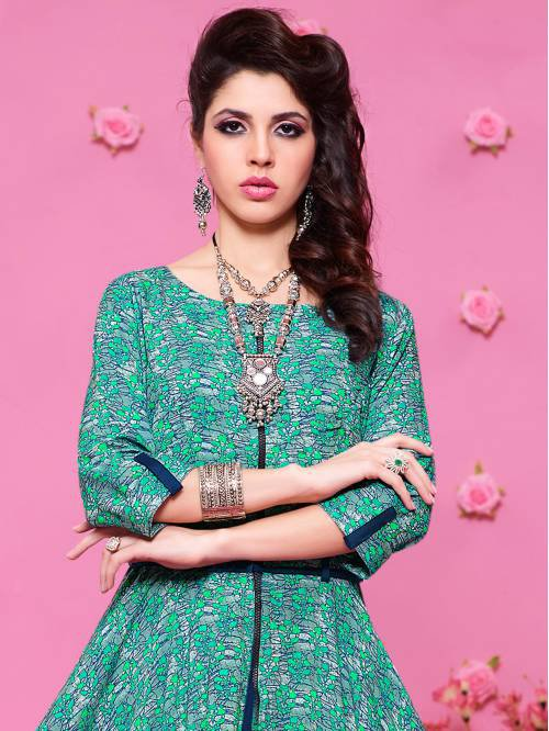 Blue And Green Rayon Printed Floor Length Anarkali Kurti