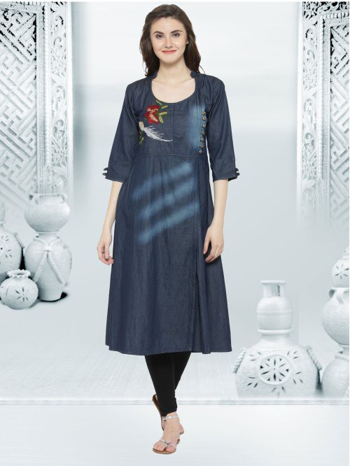 Denim Kurta With Side Show Placket With Buttons And Embroidery