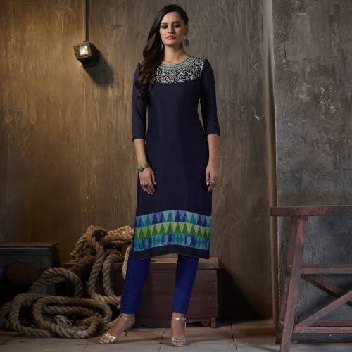 Blue Georgette Embroidered Calf Length Kurti