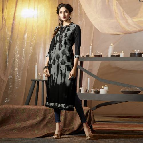 Black Crepe Embroidered Straight Kurti