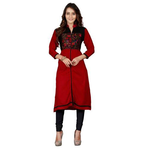 Red & Black Rayon Bhagalpuri Printed Kurti