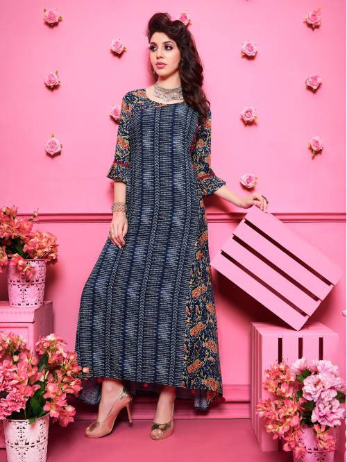 Blue Rayon Printed Floor Length Anarkali Kurti