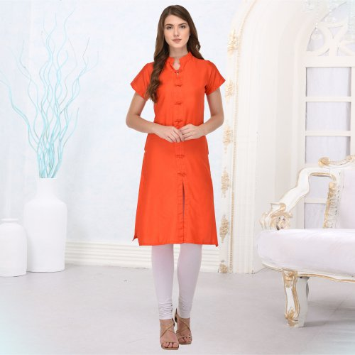 Orange Silk Plain Straight Kurti