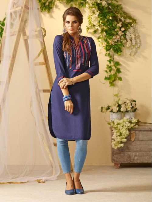 Blue Rayon Embroidered Knee Length Straight Kurti