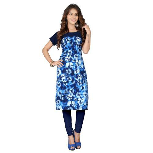 Blue & Multicolorcrepe Digital Printed Kurti