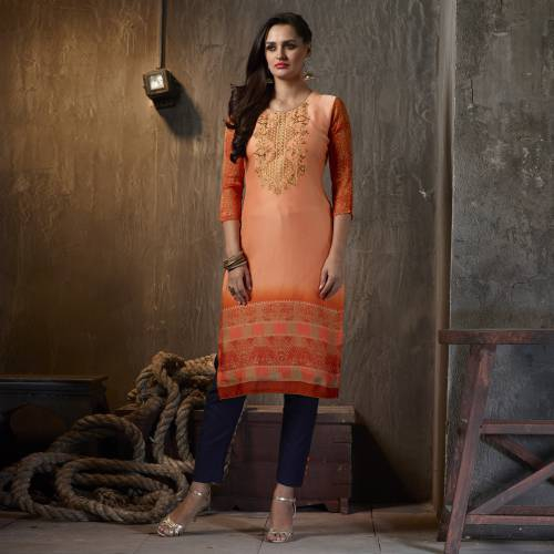 Orange Georgette Embroidered Calf Length Kurti