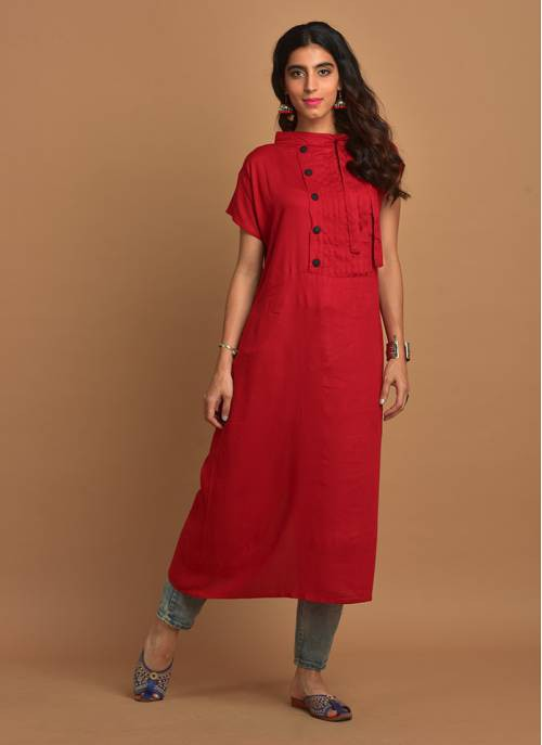 Plain Red  Kurti With Tie-up Band Collar & Mega Sleeves