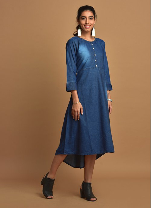 Navy Blue Discharge Printed High-low Denim Kurti With Round Neck & 3/4th Sleeves