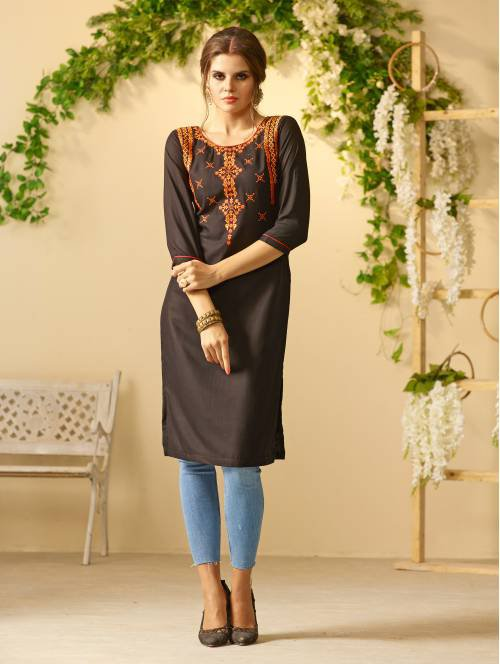 Black Rayon Embroidered Knee Length Straight Kurti